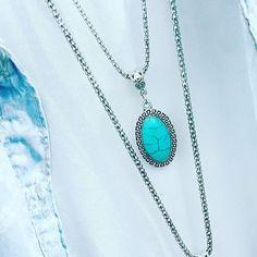 Colar prata com pedra turquesa