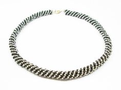 Black & Silver Russian Spiral Necklace by kiddercreations on Etsy, $55.00
