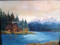 Pretty Oil Painting Cottage on the River Landscape by KimBuilt, $45.00