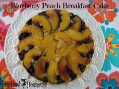 Blueberry and Peach Upside Down Breakfast Cake #glutenfree