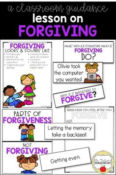 A classroom lesson on forgiving. Starts and leads the discussion on forgiveness. Why is it important to forgive? School Counselor Office, Elementary School Counselor, School Counseling, Elementary Schools, Character Traits For Kids, Character Education, Forgiveness Lesson, Social Skills Activities, Guidance Lessons