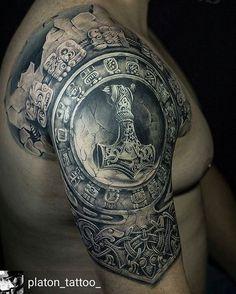 Cool armor piece by @platon_tattoo Platon Sosnytskyi