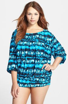 MICHAEL Michael Kors Torino Tie Dye Draped Cover Up SUMMER BLUE Size 22W #35 NWT #MichaelKors #CoverUp