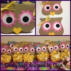 These are the Owl goody bags made with caramel and cheese popcorn. Owl Parties, Owl Birthday Parties, 9th Birthday, Owl Treats, Owl Cakes, Baby Owls, Baby Shower Themes, Halloween Crafts, Crafts For Kids