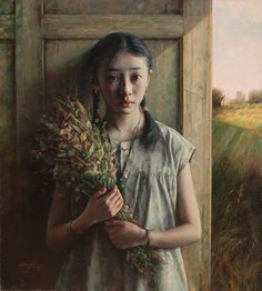 Girl with Bouquet | From a unique collection of portrait paintings at https://www.1stdibs.com/art/paintings/portrait-paintings/