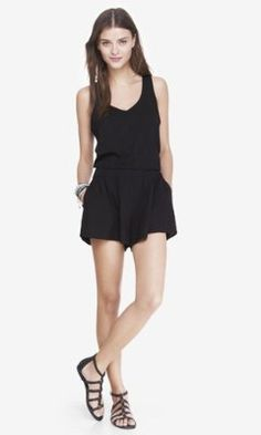 b8944fcf30c3 DEEP V-NECK KNIT WAIST ROMPER from EXPRESS Cute Rompers