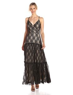 Taylor Dresses Womens Lace Mesh Maxi Slip Dress Black Nude 6 ** You can get more details by clicking on the image. (This is an affiliate link) #Lacedresses