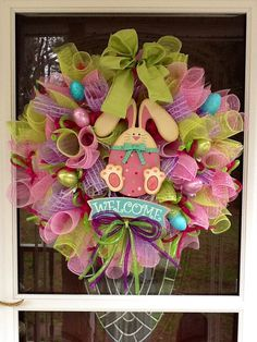 Deco Mesh Easter Bunny Wreath by WreathsEtc on Etsy, $159.00