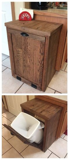 I made the frame for the cabinet out of old 4x4 scraps of left-over pine sized to fit our pre-existing plastic trash bin. Once the frame was made, I covered it in oak pallet wood that I had on hand.…