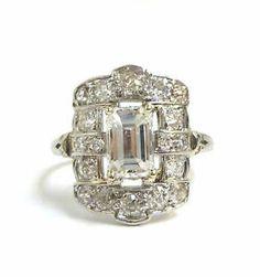 Antique Platinum Edwardian Emerald Cut Old Mine Cut Diamond Ring EGL Certified | eBay
