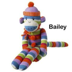 BAILEY Striped Sock Monkey -  Large Size