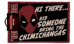 Kokos Deurmat van Marvel's superheld Deadpool met de grappige tekst 'Hi There... Did Someone Bring the Chimichangas'