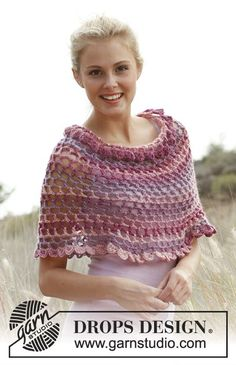 Ponchos & Shawls - Free knitting patterns and crochet patterns by DROPS Design Poncho Crochet, Pull Crochet, Mode Crochet, Crochet Shawls And Wraps, Crochet Scarves, Crochet Clothes, Crochet Stitches, Lace Shawls, Wool Poncho