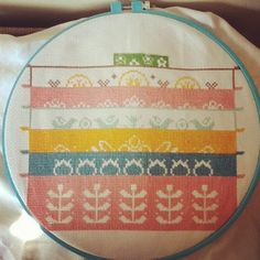 Pyrex Cross Stitch Progress by lolie jane, via Flickr