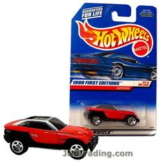 Hot Wheels Year 1998 First Editions Series 1:64 Scale Die Cast Car Set #17 - Red Color Sport Utility Vehicle SUV JEEPSTER 21069