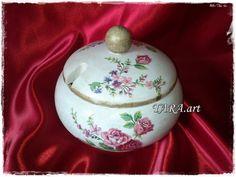 Sugar bowls, wooden sugar bowl, decoupage sugar bowl, sugar canisters, sugar bowl with lid, sugar box, sugar basin, kitchen decor, flowers