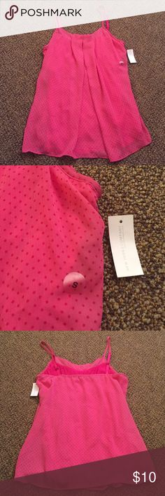 Bright Pink Top Never worn with tag! Great condition. Kept in a smoke and pet free home! Bright pink with small pink polka dot detail New York & Company Tops Camisoles