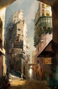 Crescent Street, by Daniel Doicu, 'Guild Wars' concept artist.
