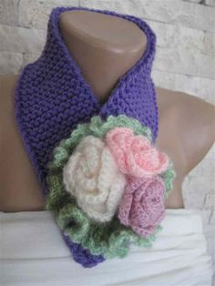 Knitted-crocheted neckwarmer-neckwrap