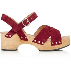 Whistles Crossover Suede Clog Sandal ($170) ❤ liked on Polyvore featuring shoes, red, suede leather shoes, suede shoes, clog shoes, red mid heel shoes and red clogs