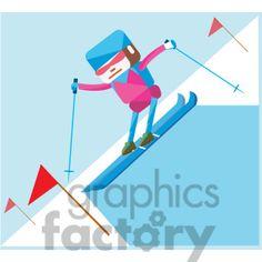 Olympic alpine skiing sports character illustration