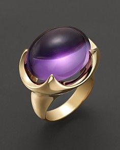 Large Amethyst Cabochon Ring in 14 Kt. Yellow Gold