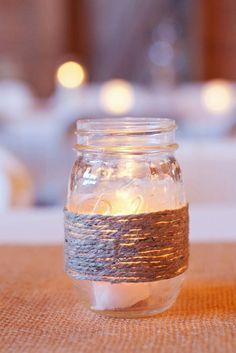 Mason Jars Decorated with Burlap Lace or Salt by VintageMiche, $4.00