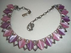 LOVELY vintage PINK & LAVENDER thermoset lucite NECKLACE #unmarked #necklace