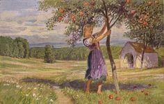 """""""Frau Holle"""" - Illustration zu Grimms Märchen von Professor Paul Hey, Maler, Grafiker und Illustrator (19.10.1867 in München - 14.10.1952 Gauting)"""