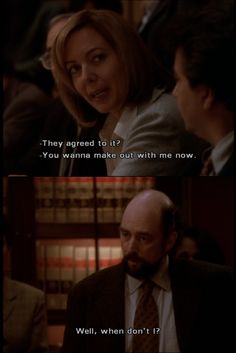 """""""The West Wing"""" ~ the best cast & writers on television! CJ & Toby make small talk."""