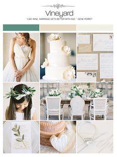 Vineyard green, tan, beige, neutral wedding inspiration board, color palette, mood board via Weddings Illustrated