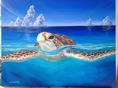 Peace of the Tropics  Tropical Sea Turtle  Large by UssherART, $1200.00