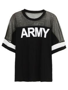 Black ARMY Print Mesh Panel Short Sleeve T-shirt