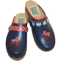 Red Dala Horse on Blue with Choice of Strap | Tessa Clogs