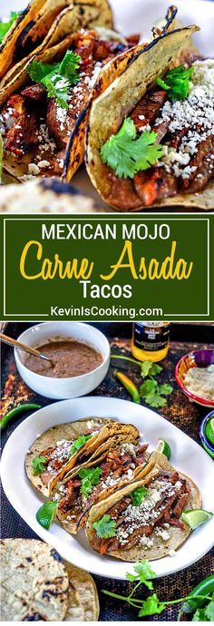 Mojo Carne Asada Tacos - A blend of chiles, garlic, oil and orange juice marinate this skirt steak only after it's been soaked in beer first. Grill and eat… amazing flavors! via @keviniscooking