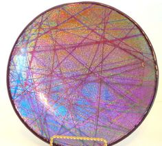 Dichroic pixie stix on purple serving dish by SherwoodGlassworks on Etsy https://www.etsy.com/listing/202633052/dichroic-pixie-stix-on-purple-serving