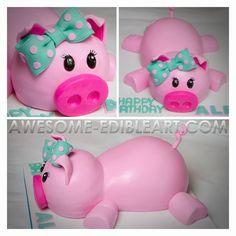 Little piggy cake Pig Birthday Cakes, Farm Birthday, Fancy Cakes, Cute Cakes, Fondant Cakes, Cupcake Cakes, Pig Baby Shower, Baby Showers, Piggy Cake