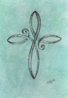 Teal Cross Original watercolor painting 35x5 by EmBoundArt on Etsy, $10.00