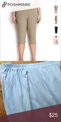 Lands End knit capris. NWOT light blue Lands End knit capris. elastic waist with a two pocket front.  NWOT Lands' End Pants Capris