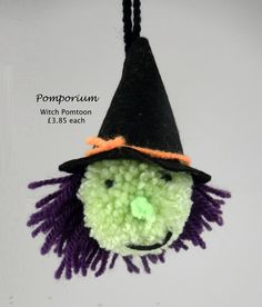 My little witch 'Pomtoon'. Made from a single pompom, carefully cut to create this (hideous?) lady. With a hand-crafted felt hat and hanging loop, she'll keep the tricksters away!!