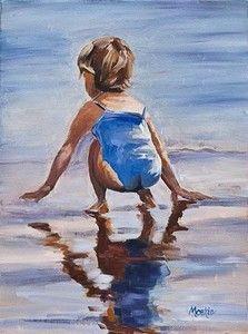 Seaside Art, Beach Art, Painting Of Girl, Figure Painting, Watercolor Portraits, Watercolor Paintings, Watercolour, Beach Watercolor, Am Meer
