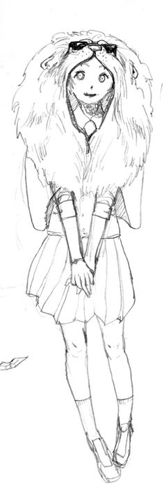 The girl in the lion costume, sketch