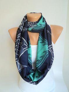 Dark blue and green patternscarf/ Loop scarf/Satin by WorldScarf, $9.90