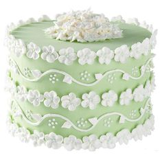 The apple blossom's promise of good fortune encircles this truly dimensional cake. Present it on a pedestal cake plate for an impressive display.