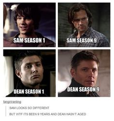 I miss season one Sam. Jared will always be attractive. But season one Sam's hair was better. (Geek Stuff Jensen Ackles)