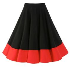 Ohlson, a bold black vintage inspired full circle skirt with a bright red hem band, by Lindy Bop. Vintage 1950s Dresses, Vintage Inspired Dresses, Retro Dress, Vintage Skirt, Vintage Outfits, Vintage Fashion, Vintage Style, Denim Fashion, Skirt Fashion