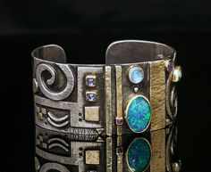 Linda ladurner (galerie-soleil.com) | Cuff Bracelet in silver, gold, opal, moonstone, amethyst, aquamarine, iolite, ruby