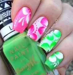 Neon pink n green flower nails