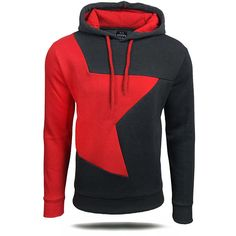 Mens Hoodies Splicing Star Pattern Zipper Hood Fashion Casual Sport Hooded Tops