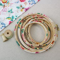 Summer Floral Liberty Tana Lawn Fabric Wrapped Embroidery Hoops - 10 inch / with glue